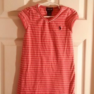 RALPH LAUREN 5 5T Girls Dress Salmon  Short Sleeve